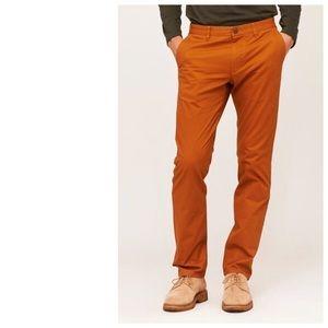 BONOBOS Washed Chinos Orange Khaki Pants Pumpkin
